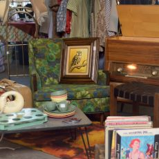 Business of vintage, selling at a vintage flea market